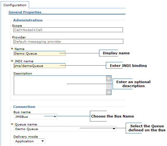 configure jms destination websphere broker