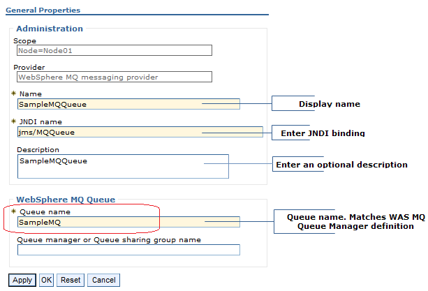 websphere mq configuring jms destinations
